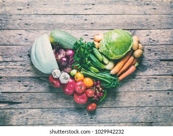 Assortment Fresh Organic Vegetables Heart Shape Wooden Background Country Style Market Concept Local Garden Produce Clean Food Eating Dieting Toned