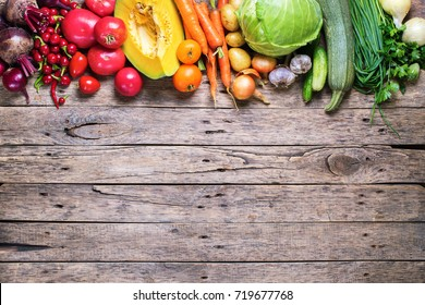 Assortment Fresh Organic Vegetables Row Apportion Wooden Background Country Style Market Concept Local Garden Produce Clean Eating Dieting