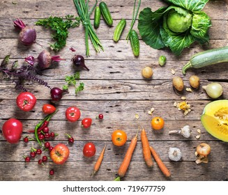 Assortment Fresh Organic Vegetables Scattered Wooden Background Rainbow Colored Nature Country Style Market Concept Local Garden Produce Clean Food Eating Dieting