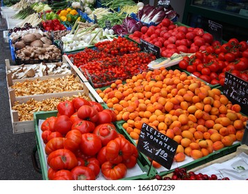 Assortment fresh products on a market - closeup shot
