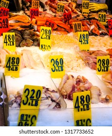 An assortment of fresh seafood in ice at a Fish Market in Chinatown in New York City NY, USA