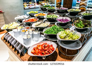 Assortment fresh vegetable salads vegetarian buffet tasty side dish variety. Healthy food set, organic, natural egypt