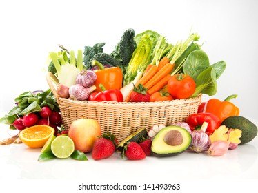 Assortment of Fresh Vegetables and Fruits in Basket on White Background