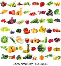 Assortment of fresh vegetables and fruits on white background