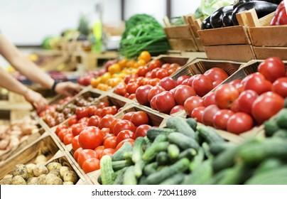 Assortment of fresh vegetables at market