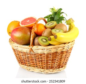 Assortment of fruits in basket isolated on white