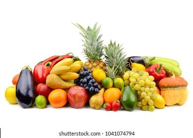 Assortment of fruits, vegetables, berries isolated on white background