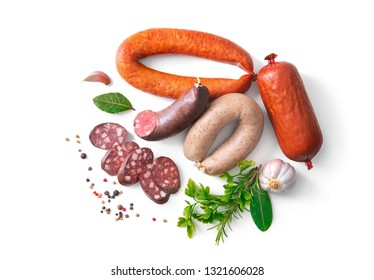 Assortment of german homemade sausage specialties: hard cured salami, liver sausage (Leberwurst), blood sausage (Blutwurst) and salami isolated on white