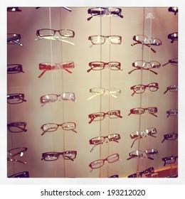 Assortment of Glasses in display - instagram effect
