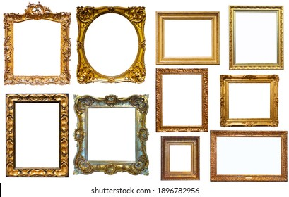 assortment of golden and silvery art and photo frames isolated on white background