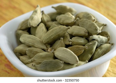 An assortment of green cardamoms used in cooking