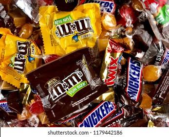 Assortment of Halloween candies