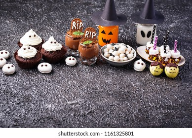 Assortment of Halloween treat for children party. Sweet snack bar