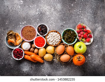 Assortment of healthy food containing iodine. Products rich in I