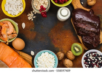 Assortment of healthy food. Natural sources of phosphorus (P). Products good for diet. Space for text