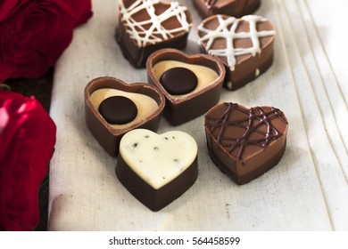Assortment of heart shaped valentine's chocolates