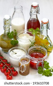 Assortment of homemade salad dressings and sauce
