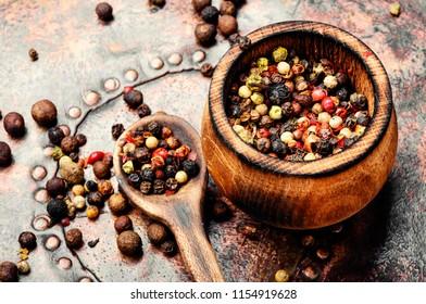 Assortment of hot pepper in the pepper box