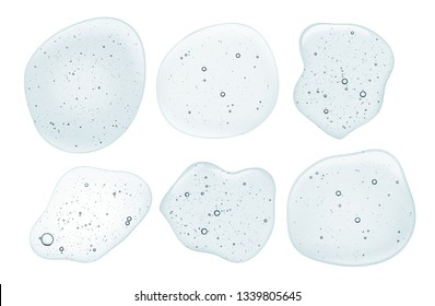 Assortment iquid gel on a digital screen of microscope isolated on white
