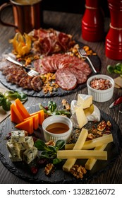 Assortment of italian antipasti, cold cuts and cheese plate