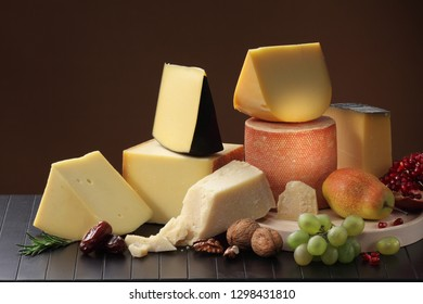 Assortment of Italian, Swiss, English, French and Holland hard cheeses