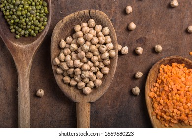 Assortment of Legumes - mung, chickpeas and different beans. Top view.