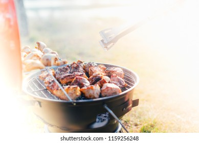 Assortment of marinated meat grilling over the hot coals on a BBQ with sausage, steak, chicken, spare ribs and kebabs with copy space