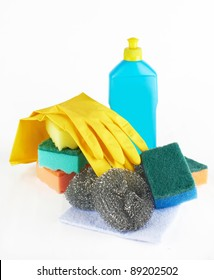 Assortment of means for cleaning on white