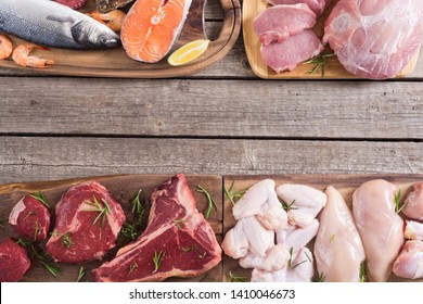 Assortment of meat and seafood . Beef , chicken , fish and pork