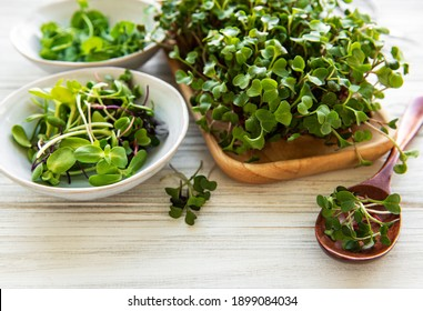 Assortment of micro greens on white wooden  background, copy space, top view.  Healthy lifestyle