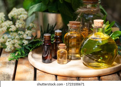 Assortment of natural oils in glass bottles on wooden background. Concept of pure organic ingredients in cosmetology. Atmosphere of harmony, relax, spa. Close up macro. Healthy lifestyle.