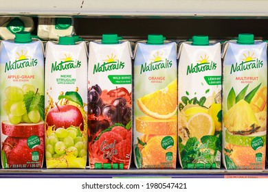 Assortment of Naturalis natural fruit juices in pak. May 26, 2021 Beltsy Moldova, Illustrative editorial.