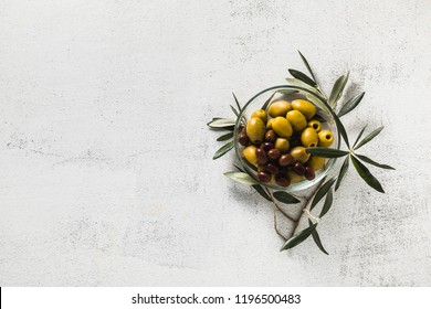 assortment of olives in a transparent bowl and a branch of olive tree. snack or appetizer. hors d'oeuvre