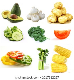 assortment of organic natural vegetables on a white background
