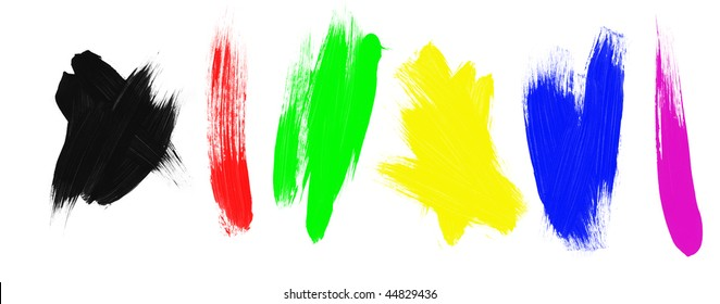 An assortment of paint brush strokes. Designers aren't constrained to these colors.  They can set the Photoshop paint brush to color mode and paint on any color to any splatter