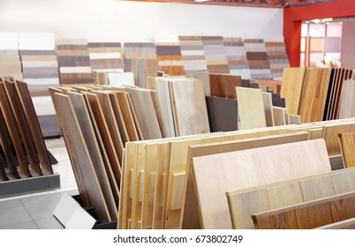 Assortment of parquet samples in shop