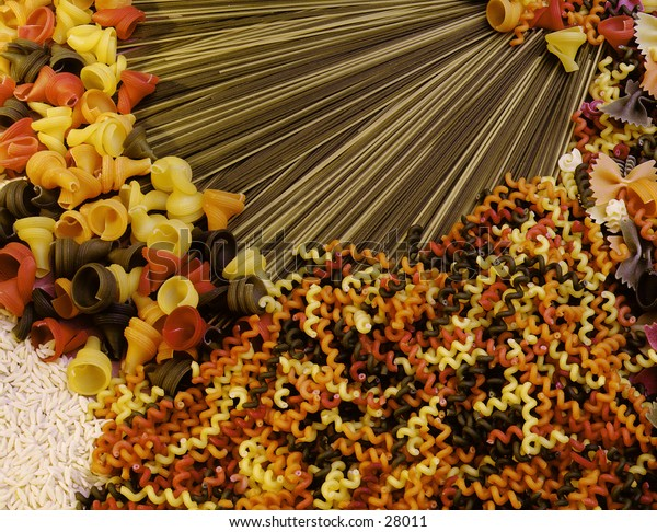 Assortment of pastas in difierent colors