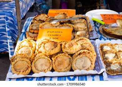 An assortment of pastries (panades) for sale on Porreres Market. Porreres, Majorca, Spain