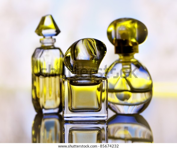 assortment of perfume bottles , close up