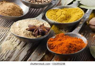 Assortment of powder spices on spoons