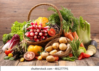 assortment of raw fruit and vegetable