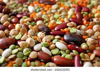 Assortment of raw legumes, closeup