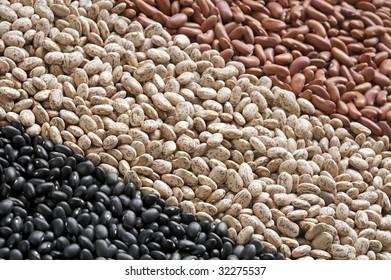 Assortment raw pinto beans