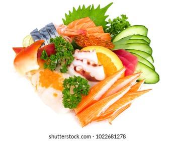 Assortment of raw sea food set or shashimi in Japanese, isolated on white background