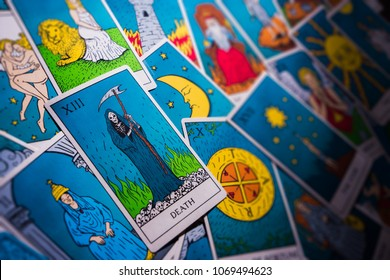 Assortment of retro inspired Tarot cards