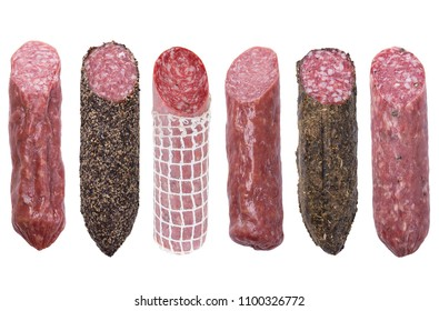 assortment of  salami sausages isolated on white background