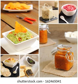 Assortment of sauces, dips and pates
