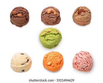 Assortment scooping homemade cookies on white background, Dark chocolate and cocoa with Cashew nuts, Coffee with almond, Green tea and Thai tea with macadamia, Cookies and vanilla cream and Strawberry