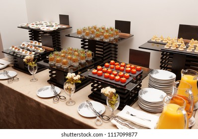Assortment of snacks on banquet table in a hotel