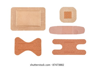 An assortment sterile of adhesive bandages isolated on white